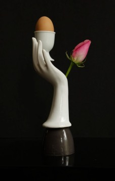 romantic-sold (surrealist series) Eggcup; mixed media-assemblage by Mimi Berlin © photo; by jwkaldenbach.com