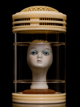 Mimi Berlin, 2013. History of Circus Legends. Pierrot No Body. (1970s biscuit ceramic, 1950s etched celulloid, plastic jar with room for oxyen, signed with a chinese character) ø 6 x 9,5 cm.