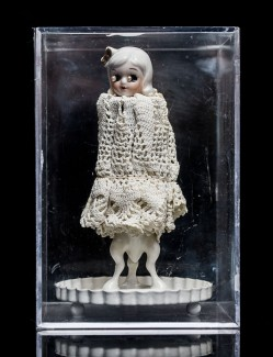 Mimi Berlin, 2013. History of Circus Legends. Devil Child (1950s ceramic, cotton crochet, porcelain signed Bavaria, ceramic, painted metal) 11x 15.5 cm.