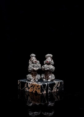Mimi Berlin, 2013. History of Circus Legends. Twin Poodles. (1970s handmade ceramic, 1920s marble.) 10 x 7 x 8 cm.