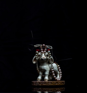Mimi Berlin, 2013. History of Circus Legends. Lamb. (1970s porcelain, signed Goebel W Germany 43, 1950s/1960s/1980s beads & gold filled metal, 1980s embellished soft stone.) 10 x 7 x 13 cm