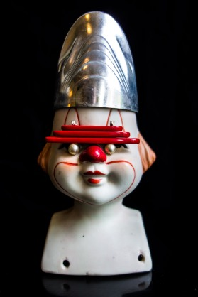 Robot Clown (Assembled 1980s biscuit ceramic, plastic, faux pearls)