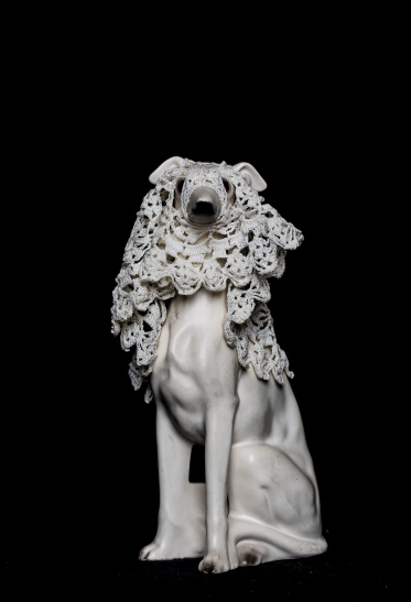 Mimi Berlin 2014, Whippet with Veil. (1970s ceramic, cotton crochet.) 10 x 20 cm
