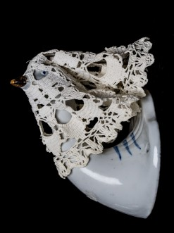 Mimi Berlin, 2014. Goose with Veil, (1990s ceramic, cotton crochet, marble) 7 x 12 cm (to be mounted on wall) 11 x 14 cm